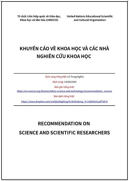 'Khuyến cáo về Khoa học và các Nhà nghiên cứu Khoa học' - bản dịch sang tiếng Việt