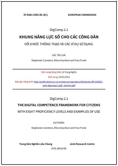 'DigComp 2.1. Khung năng lực số cho các công dân với 8 mức thông thạo và các ví dụ sử dụng' - bản dịch sang tiếng Việt