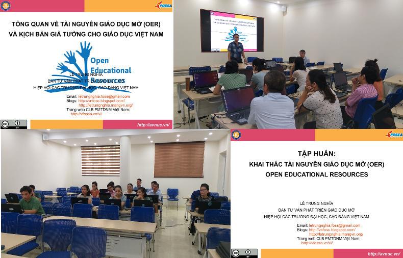Quang cảnh khóa thực hành khai thác OER ở Đại học Mở Hà Nội