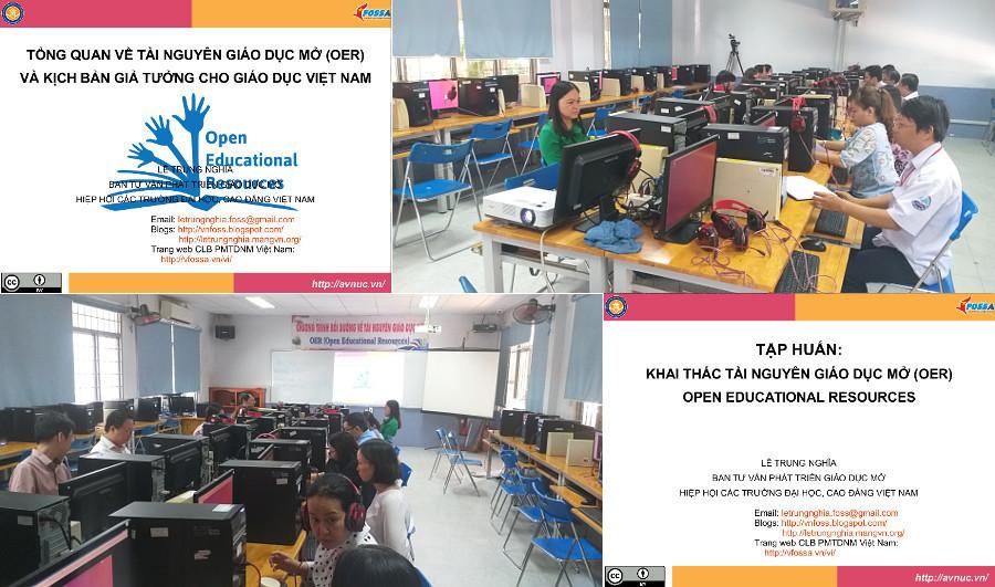 Quang cảnh khóa thực hành khai thác OER ở CĐ KTKT HCM, lớp 2, 28-29/11/2019