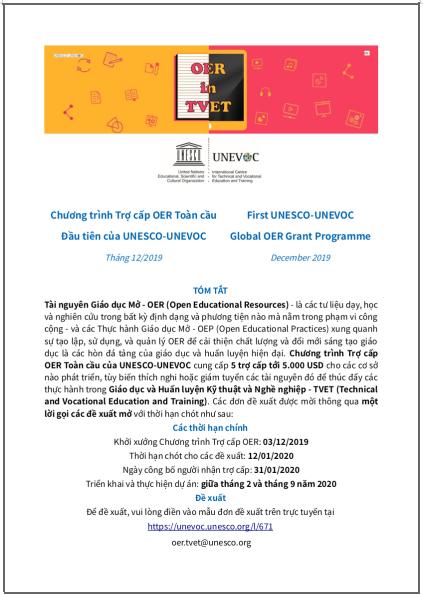 'Chương trình Trợ cấp OER Toàn cầu Đầu tiên của UNESCO-UNEVOC' - bản dịch sang tiếng Việt