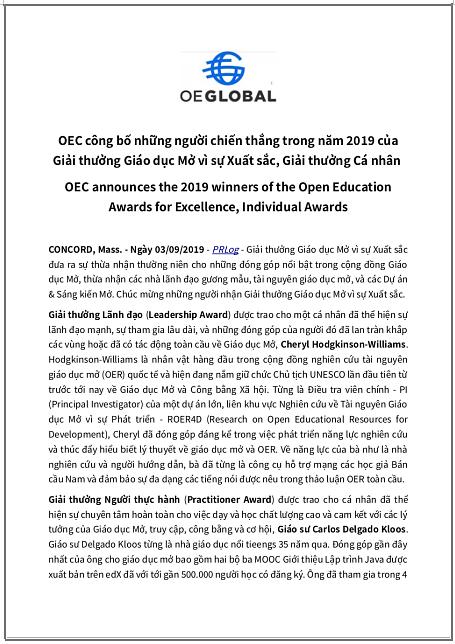 'Nhóm Giáo dục Mở (OEC) công bố những người chiến thắng trong năm 2019 của Giải thưởng Giáo dục Mở vì sự Xuất sắc, Giải thưởng Cá nhân' - bản dịch sang tiếng Việt