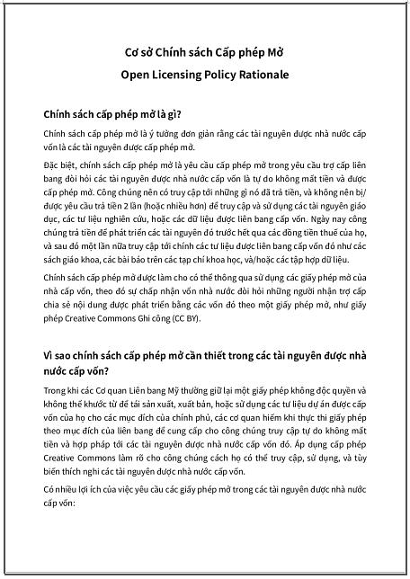 'Cơ sở Chính sách Cấp phép Mở' [của Mỹ] - bản dịch sang tiếng Việt