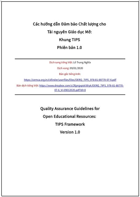 'Các hướng dẫn Đảm bảo Chất lượng cho Tài nguyên Giáo dục Mở: Khung TIPS Phiên bản 1.0' - bản dịch sang tiếng Việt