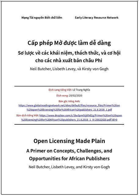 'Cấp phép Mở được làm dễ dàng. Sơ lược về các khái niệm, thách thức, và cơ hội cho các nhà xuất bản châu Phi' - bản dịch sang tiếng Việt