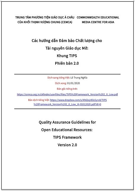 'Các hướng dẫn Đảm bảo Chất lượng cho Tài nguyên Giáo dục Mở: Khung TIPS Phiên bản 2.0' - bản dịch sang tiếng Việt