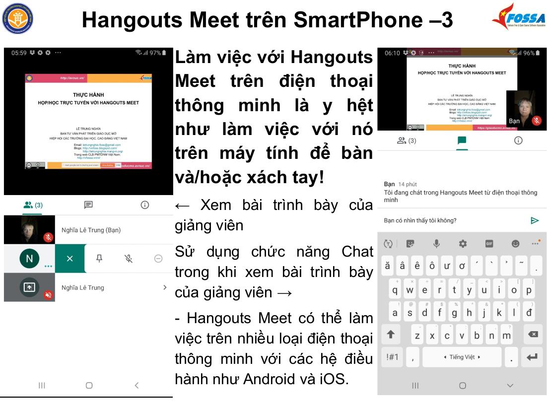 Thực hành họp/học trực tuyến với Hangouts Meet ở trường Đại học Thăng Long