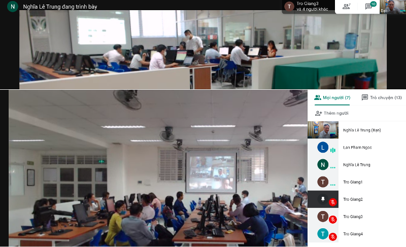 Các học viên ngồi trong 2 phòng học vật lý