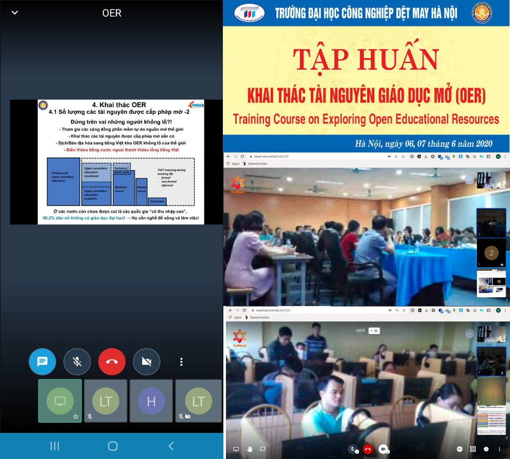 Quang cảnh khóa thực hành khai thác OER ở ĐH Công nghiệp Dệt May Hà Nội, 06-07/06/2020