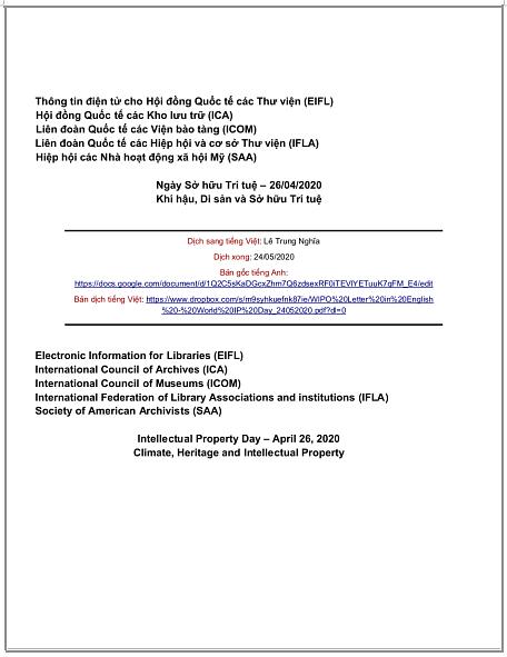 Thư của tổ chức CC, IFLA và các tổ chức khác gửi WIPO nhân ngày Sở hữu Trí tuệ 2020 kêu gọi bảo vệ di sản văn hóa khỏi thiệt hại do biến đổi khí hậu gây ra