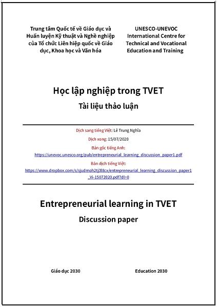 'Học lập nghiệp trong TVET' - bản dịch sang tiếng Việt