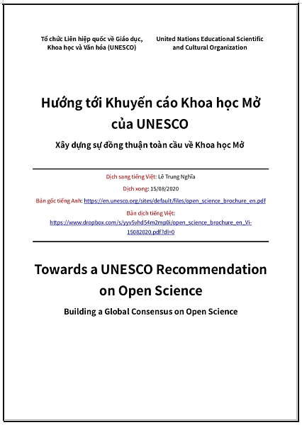 'Hướng tới Khuyến cáo Khoa học Mở của UNESCO - Xây dựng sự đồng thuận toàn cầu về Khoa học Mở' - bản dịch sang tiếng Việt