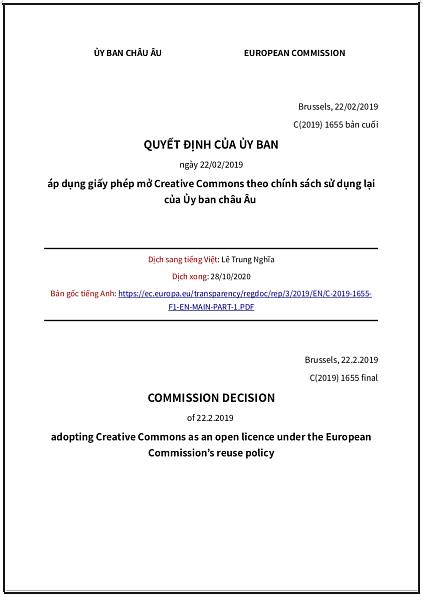 QUYẾT ĐỊNH CỦA ỦY BAN (CHÂU ÂU) ngày 22/02/2019 áp dụng giấy phép mở Creative Commons theo chính sách sử dụng lại của Ủy ban châu Âu - bản dịch sang tiếng Việt