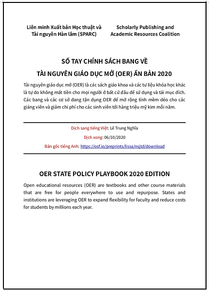 'Số tay chính sách bang [của nước Mỹ] về OER ấn bản 2020'- bản dịch sang tiếng Việt