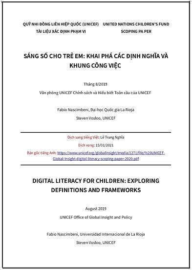 'Sáng số cho trẻ em: khai phá các định nghĩa và khung công việc' - bản dịch sang tiếng Việt