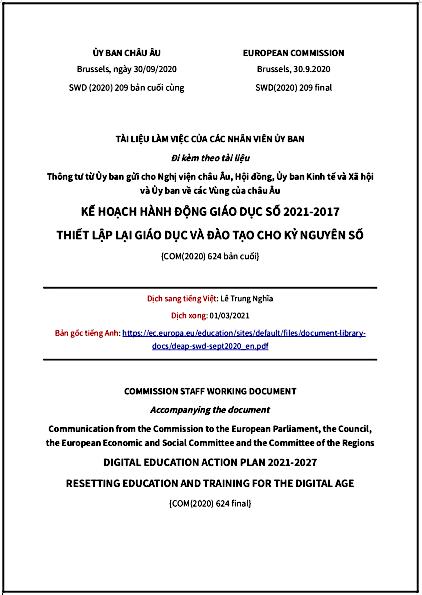 'Kế hoạch hành động Giáo dục Số 2021-2027 Thiết lập lại giáo dục và đào tạo cho kỷ nguyên số' của Liên minh châu Âu - bản dịch sang tiếng Việt