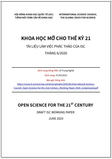 'Khoa học Mở cho thế kỷ 21 - Tài liệu làm việc phác thảo của ISC' (Hội đồng Khoa học Quốc tế – International Science Council) - bản dịch sang tiếng Việt