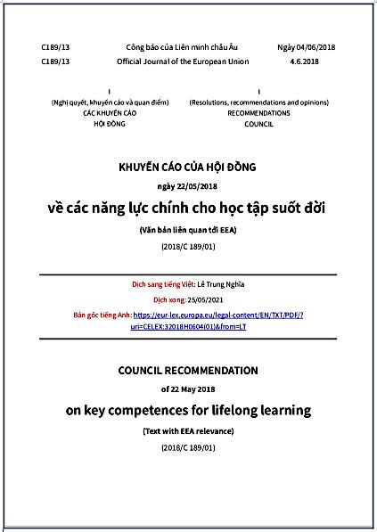'Khuyến cáo của Hội đồng châu Âu ngày 22/05/2018 về các năng lực chính cho việc học tập suốt đời' - bản dịch sang tiếng Việt