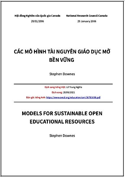 'Các mô hình Tài nguyên Giáo dục Mở bền vững' - bản dịch sang tiếng Việt